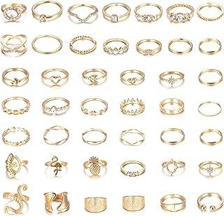 YADOCA - Juego de anillos para mujer, diseño de nudillos de oro y anillo apilable tallado para uñas