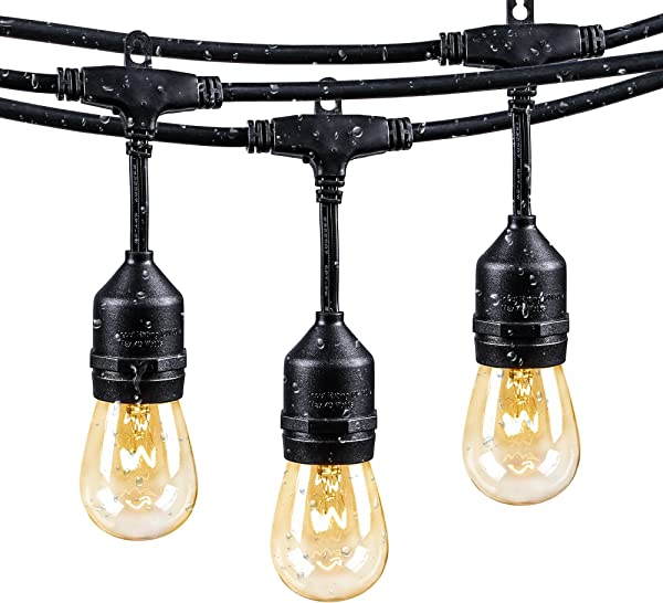 48Ft Outdoor Weatherproof String Lights With 24 Sockets E26 Base 26 11W S14 Warm Bulbs Commercial Grade Heavy Duty Light String For Patio Bistro Backyard Black Wire