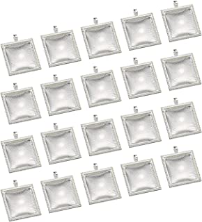 eBoot 20 Pieces Pendant Trays Square Bezel and 20 Pieces Glass Dome Tiles for Crafting DIY Jewelry Making, Totally 40 Pieces