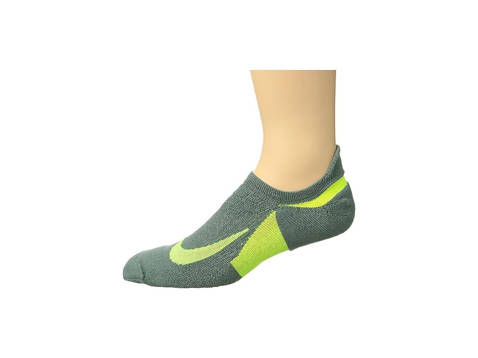 Nike Elite Cushion No-Show Tab Running Socks (Clay Green/Volt/Volt) No Show Socks Shoes
