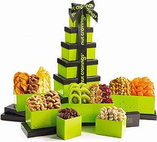 Dried Fruit & Nut Gift Basket, Green Tower + Ribbon (12 Piece Assortment) - Fathers Day Prime Arrangement Platter, Birthda...