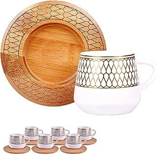 Alisveristime 12 Pc Turkish Greek Arabic Coffee Espresso Cup Saucer Porcelain Set Arabesque Pattern Cups (Hattat)