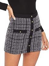 WDIRARA Women's Elegant Button-Up A-Line Mid Waist Plaid Short Skirt