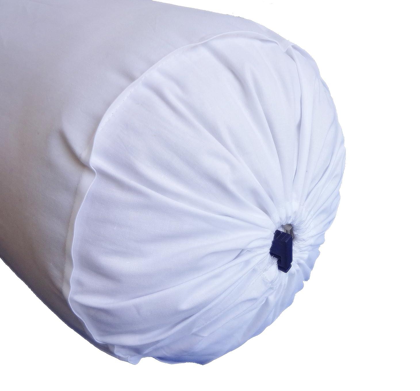 絵悩みパトロンSaffron ラウンドホワイトボルスター枕カバー コットンネックロール枕 取り外し可能カバー 直径6インチ 6x26