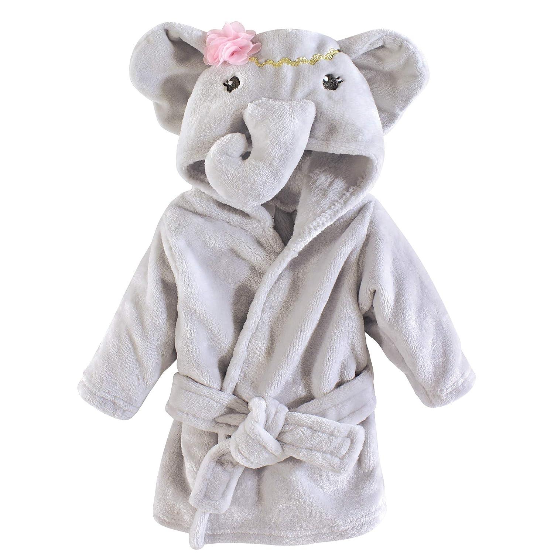 Little Treasure Unisex Baby Plush Bathrobe, Blossom Elephant, 0-9 Months