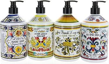Combo Set 4, Italian Deruta Hand Soap Collection 21.5 FL OZ Each, Orange Blossom, Olive Thyme, Meyer Lemon & Coconut Hibiscus