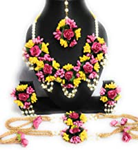 ANYTIME Balika Vadhu Jewellery Designer Pink Yellow Jwellery Set for Women & Girls (Mehandi/Haldi/Bridal/Baby Shower)