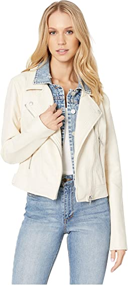 White Vegan Leather Jacket with Denim Insert in Ghost Town