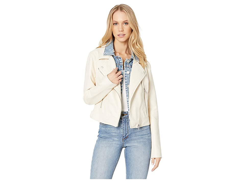 Blank NYC White Vegan Leather Jacket with Denim Insert in Ghost Town (Ghost Town) Women