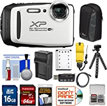 Fujifilm FinePix XP130 Shock & Waterproof Wi-Fi Digital Camera (White) with 64GB Card + Battery +Charger + Cases + Tripod + Float Strap + Kit
