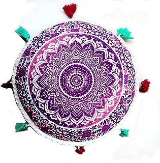 Rastogi Handicrafts - Cojín redondo de meditación para yoga, estilo bohemio, estampado a mano, algodón orgánico de puf indio