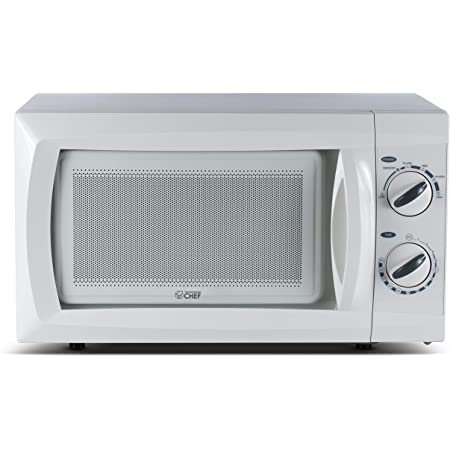 Commercial Chef Countertop Small Microwave Oven, 9.5 Inch, White
