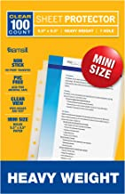 Samsill 100 Mini Clear Heavyweight Sheet Protectors, Top Loading 7 Hole 5.5 x 8.5 Inch Page Protectors for Mini Ring Binders, Archival Safe, Bulk 100 Pack