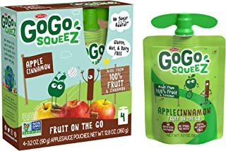 GoGo squeeZ Applesauce, Apple Cinnamon, 3.2 Ounce (48 Pouches), Gluten Free, Vegan Friendly, Unsweetened Applesauce, Recloseable, BPA Free Pouches