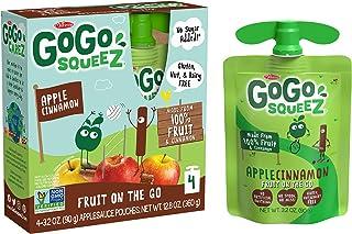 GoGo squeeZ Applesauce, Apple Cinnamon, 3.2 Ounce (4 Pouches), Gluten Free, Vegan Friendly, Unsweetened Applesauce, Reclos...