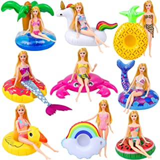 UNICORN ELEMENT 9 Pcs Cute 11.5 Inch Girl Doll Swim Accessories Set Swimming Pool Floaties Party Ring Inflatable Drink Hol...