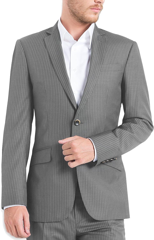 iTailor Men's Pinstripe 2 Button Notch Lapel Suit Grey 56 Long