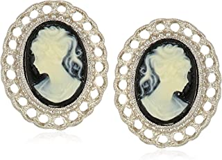 1928 Jewelry Women's Silver-Tone Black Cameo Oval Filigree Clip Button Earrings, Black, One Size, black