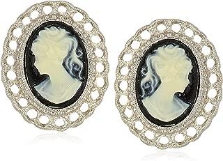 Women's Silver-Tone Black Cameo Oval Filigree Clip Button Earrings, Black, One Size, black