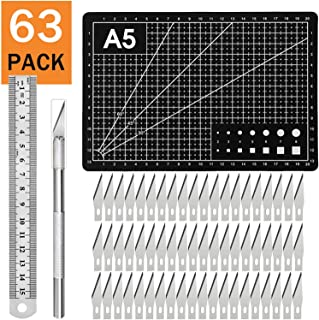 Craft Knife Carving Craft Exacto Knife Kit 60PCS Carving Blades with 1PC Craft Knifes,1PC A5 Self Healing Cutting Mat,1PC Steel Ruler for Arts DIY,Scrapbooking,Hobby Jetmore