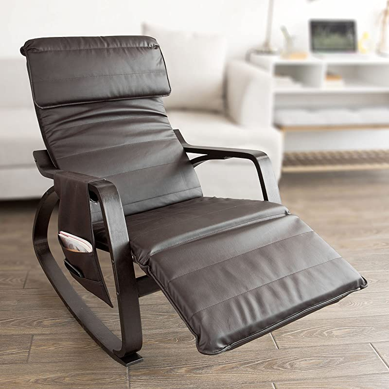 Haotian Comfortable Relax Rocking Chair With Foot Rest Design Lounge Chair Recliners Removable Side Bag FST20 BR Brown