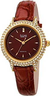 Burgi Swarovski Crystal Studded Case Watch - Encrusted with 164 Swarovski Crystals On Genuine Alligator Embossed Patent Leather Strap - Two Genuine Diamonds at 12 Hour- BUR249