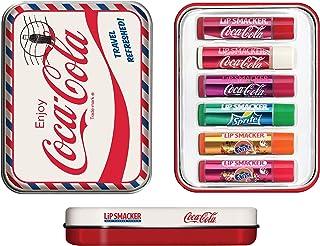 Lip Smacker Coca Cola - Set da viaggio con 6 penne per la cura delle labbra in diversi gusti + mascherina per dormire