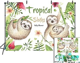 BINQOO 5x3ft Sloth Birthday Backdrop Sloth Family Invitation Zoo Birthday Party Banner Background Photography Photo Vinyl Baby Shower Birthday Party Decoration
