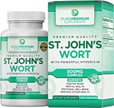 Premium St. John's Wort Supplement by PurePremium (Non-GMO & Gluten-Free) Supports Nervous System and Mental Health. St Johns Wort with Powerful Hypericin.
