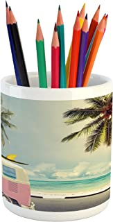 Ambesonne Surf Pencil Pen Holder, Minivan The Beach Retro Inspired Vacation Clouds in Summer Sky Honeymoon Destination, Ceramic Pencil Holder for Desk Office Accessory, 3.6
