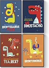 Pillow & Toast Dinosaurs for Kids Posters Party Gifts - Children Room Decor - Birthday Decorations for Boys, Dinosaur Posters for Kids Room - Set of Four Prints