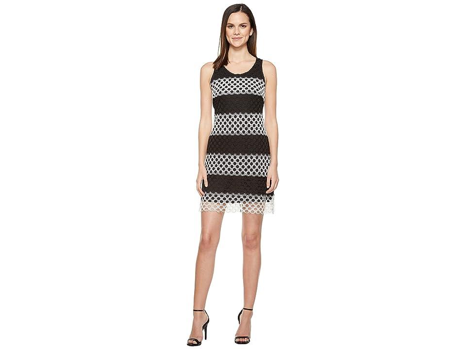 Taylor Chemical Lace Sheath Dress (Black/White) Women