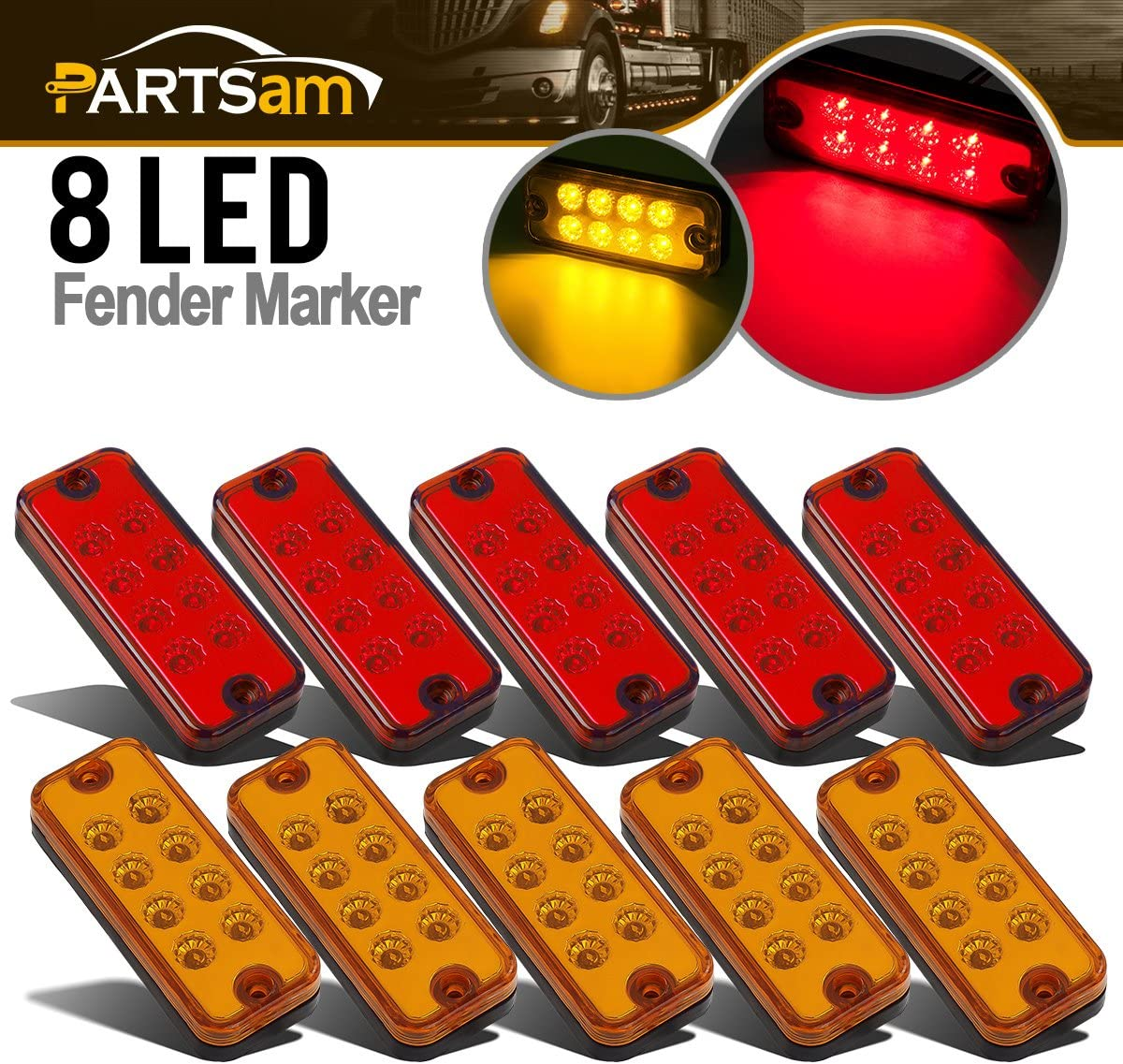 Partsam 4x2 Led Side Marker Lamps Truck Year-end gift Trailer Genuine Lights Clearance