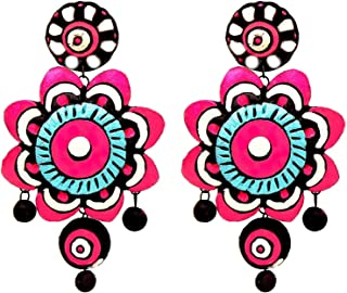 Kaizer Terracotta Jhumki With Stud In Multi-Colour DS-020 Women/Girls