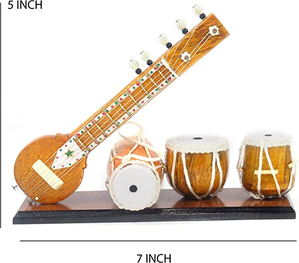 Miniature Tabla Sitar Dholak Table Top Showpiece I Traditional Indian Instrument I Handmade By Awarded Indian Artisan