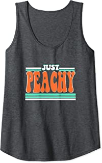 Womens Just Peachy Summer Vintage Retro 70s 80s Graphic Tee Gift Tank Top