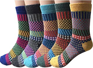 5-6 Pairs Womens Wool Socks Vintage Soft Cabin Warm Socks...