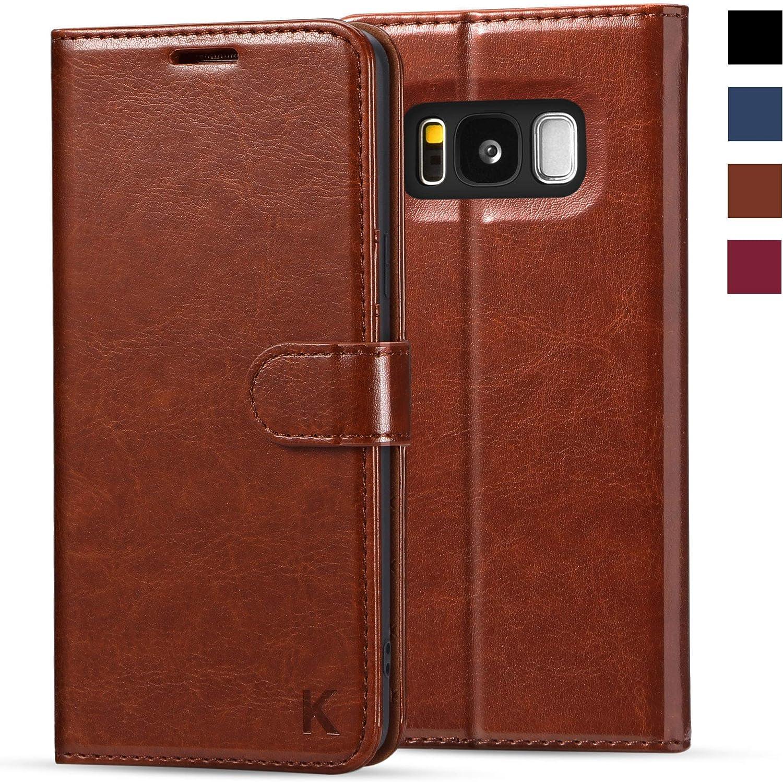 KILINO Galaxy S8 Wallet Case [RFID Blocking] [PU Leather] [Shock-Absorbent Bumper] [Soft TPU] [Card Slots] [Kickstand] [Magnetic Closure] Flip Folio Cover for Samsung Galaxy S8 (Brown)