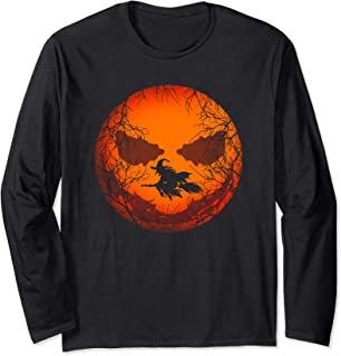 Scary Halloween Witch Wicked Moon Design Costume Long Sleeve T-Shirt