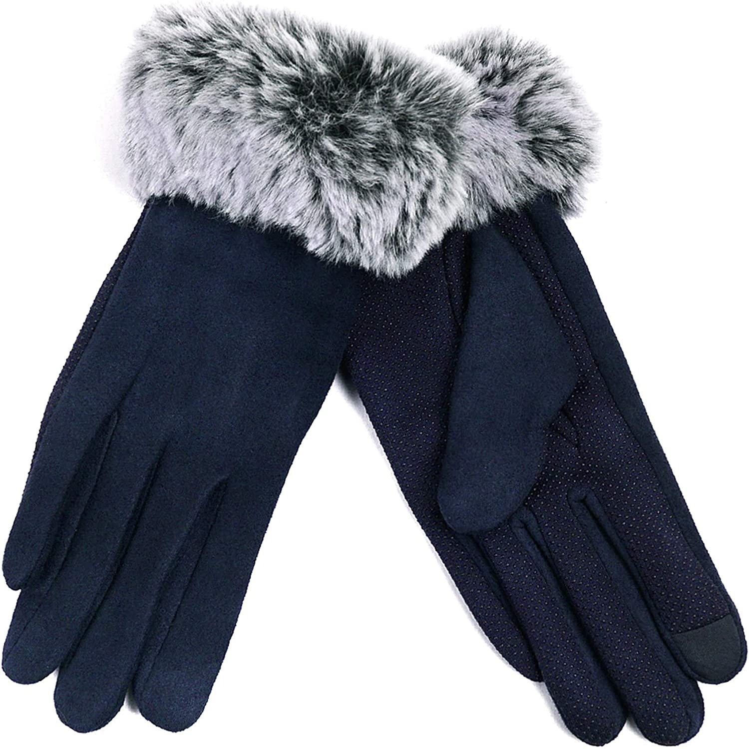 Women's Winter Gloves - Faux Fur Ombre Cuff - Touch Screen - Plush & Soft Interior - SIZE: Large/X-Lareg