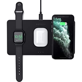 Satechi Trio Wireless Charging Pad - Qi-Certified - Compatible with iPhone 12 Pro Max/12 Mini/12, 11 Pro Max/11 Pro/11, AirPods Pro, Apple Watch Series 6/SE/5/4/3/2/1