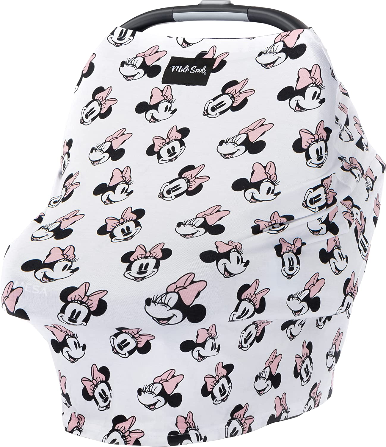 Milk Snob Original Disney 5-in-1 Cover, Minnie Mouse, Added Privacy for Breastfeeding, Baby Car Seat, Carrier, Stroller, High Chair, Shopping Cart, Lounger Canopy - Newborn Essentials, Nursing Top