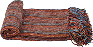 """Home Soft Things Multi Color Crystal Chenille Throw 60"""" x 80"""" Blue/Orange/Purple"""