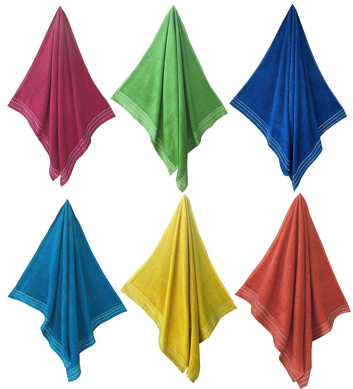 Espalma Fiesta Bright Color 6 Piece Cabana Beach Towel Set Soft and Plush Absorbent Terry Bath Sheet, Pool and Spa Towel Set, 6 Piece Multi Color Assorted Set