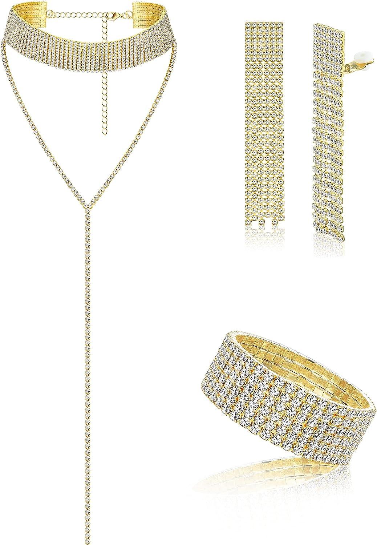 Finrezio Crystal Jewelry Set Women Clip On Dangle Earrings Y Necklace Tennis Bracelet Bridal Wedding Rhinestone Choker Formal Dress