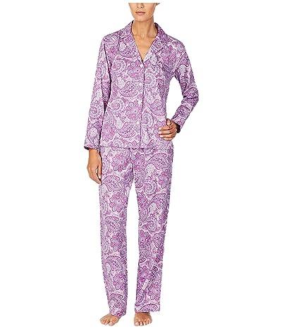 LAUREN Ralph Lauren Petite Sateen Woven Long Sleeve Notch Collar Long Pants Pajama Set (Purple Print) Women
