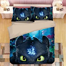 AMTAN 3D How to Train Your Dragon Duvet Cover Set Movie How to Train Your Dragon 3 Bedding Set 100% Microfiber Teen Bed Set 3pcs 1 Duvet Cover 2 Pillowcase King Queen/Full Twin Size
