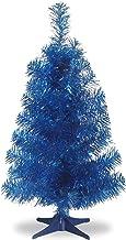 National Tree 2 Foot Black Tinsel Tree with Plastic Stand (TT33-704-20-1), Blue, 3 feet