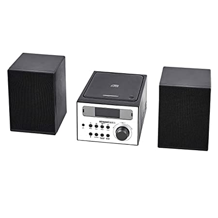 Amazon Basics Mini système Hi-Fi avec radio FM et entrée AUX, Noir