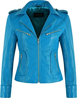 Carrie CH Hoxton Giacca in pelle moda donna blu elettrico Napa slim fit stile casual classico